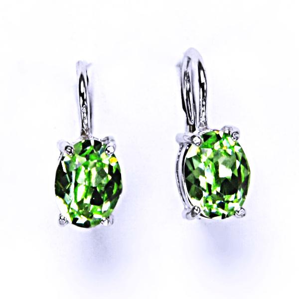 Stříbrné náušnice, krystal Swarovski, chryzolit, šperky s krystaly, NK 1245