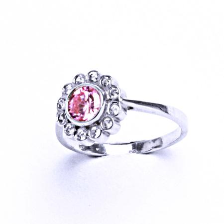 Stříbrný prsten se syntetickým růžovým zirkonem VR 179