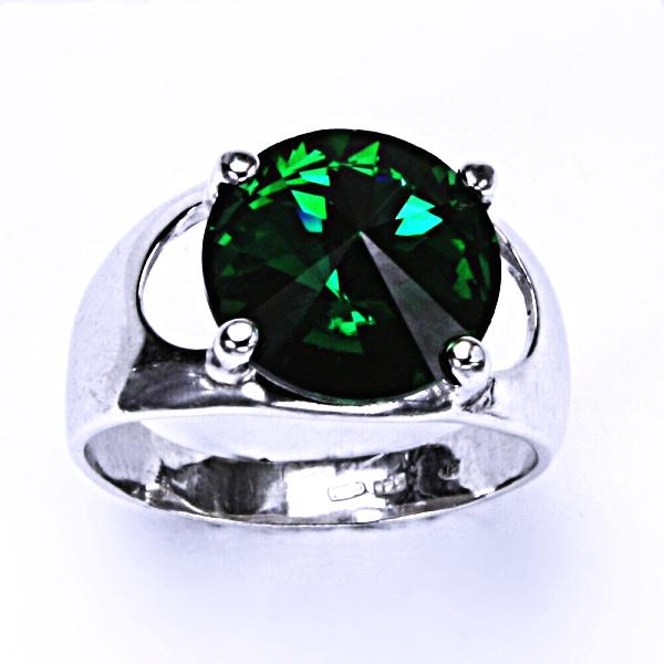 Stříbrný prsten, krystal Swarovski, emerald, šperky s krystaly, T 1188