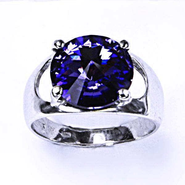 Stříbrný prsten, krystal Swarovski, tanzanit, šperky s krystaly, T 1188