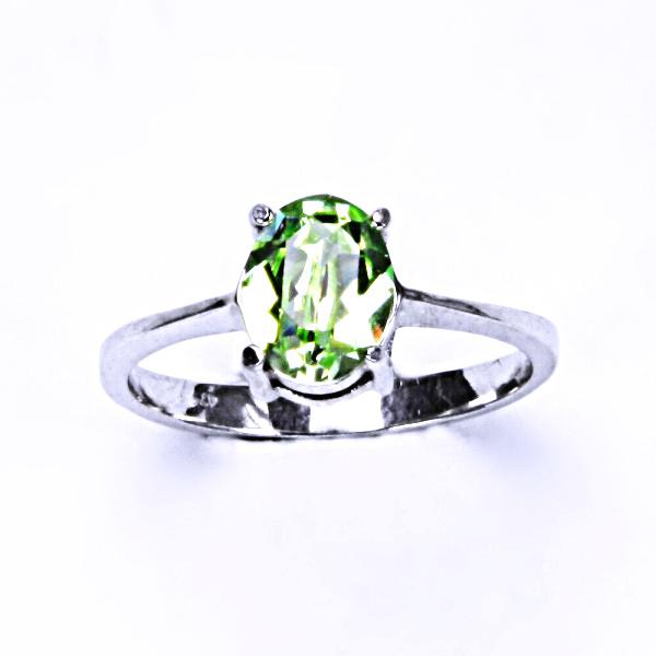 Stříbrný prsten, krystal Swarovski, chryzolit, šperky s krystaly, T 1245