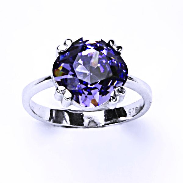 Stříbrný prsten, krystal Swarovski, tanzanit, šperky s krystaly, T 1225