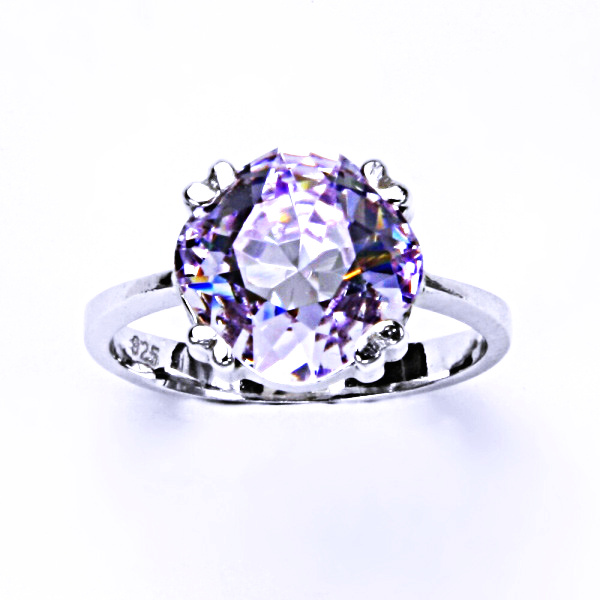 Stříbrný prsten, krystal Swarovski, violet, šperky s krystaly, T 1225