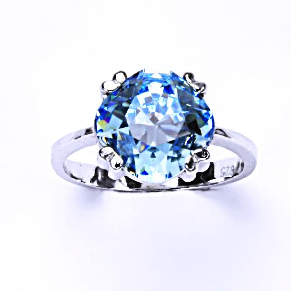 Stříbrný prsten, krystal Swarovski, akvamarin, šperky s krystaly, T 1225