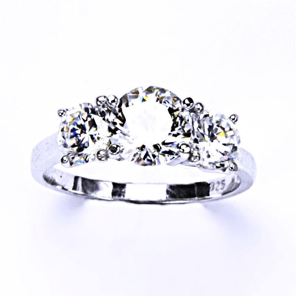 Stříbrný prsten, zirkon čirý, šperky se zirkony, zásnubní prsten, T 1294