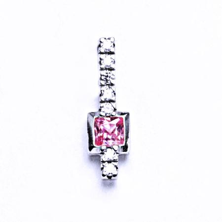 Stříbrný přívěšek s růžovým zirkonem VP82 pink