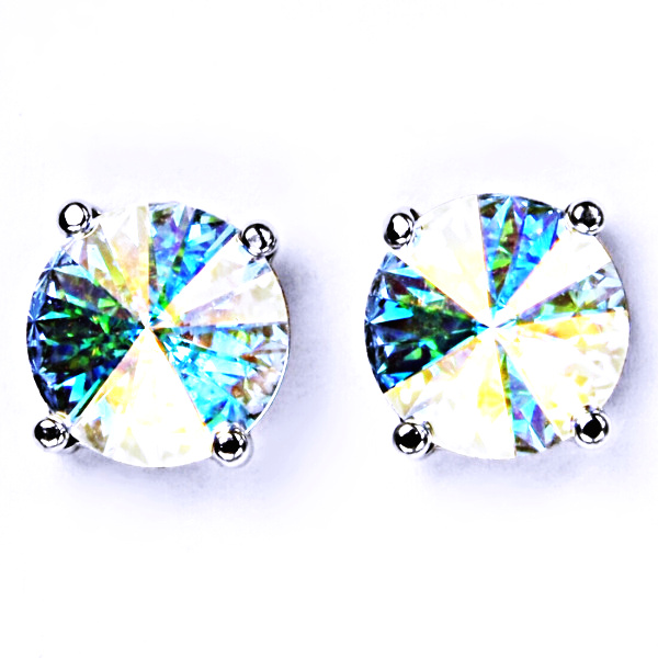 Stříbrné náušnice na šroubek s krystaly Swarovski Rivoli ( barva AB Crystal)NŠ 1188