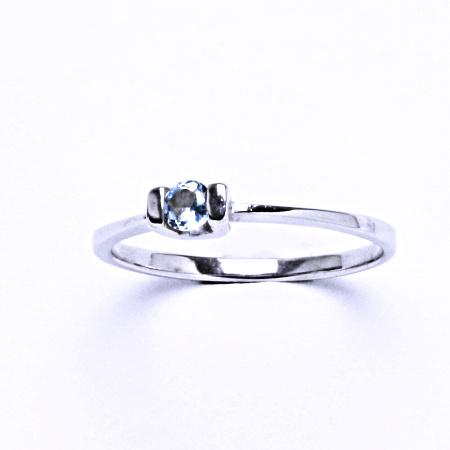 Stříbrný prsten s akvamarinem, prsten ze stříbra VR 31