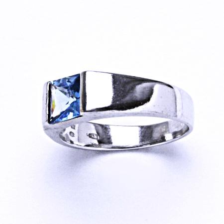 Stříbrný prsten s akvamarinem, prsten ze stříbra VR 73