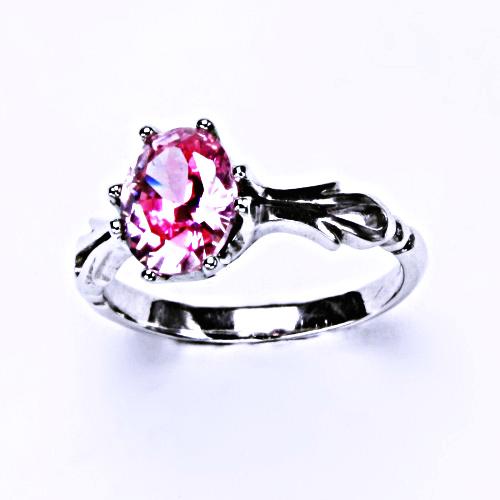 Stříbrný prsten s růžovým zirkonem (ovál 9x7mm) 0 T 1262