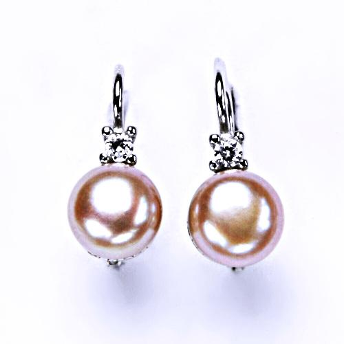 Stříbrné náušnice na patent s přírodní růžovou perlou 8 mm, šperky NK 1207