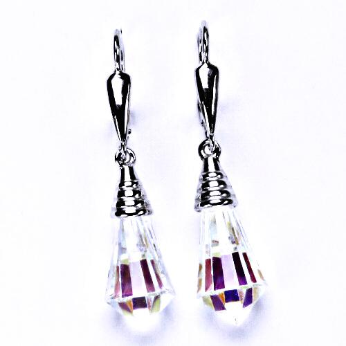 stříbrné šperky náušnice, krystal, patent, šperky,NK 1200/20