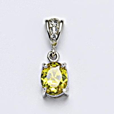 Stříbrný přívěšek se syntetickým zirkonem yellow, šperk P 1244/2