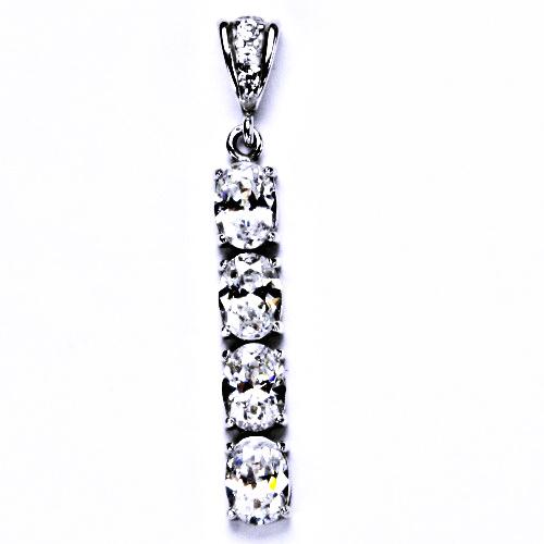 Stříbrný šperk, přívěšek s bílým zirkonem P 1233/2