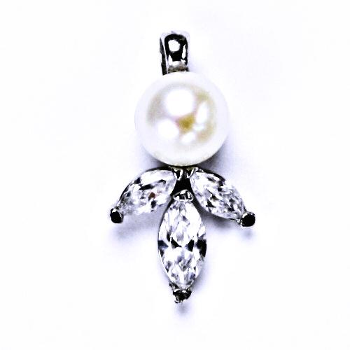 stříbrné šperky, přívěšek přírodní bílá perla P 1248