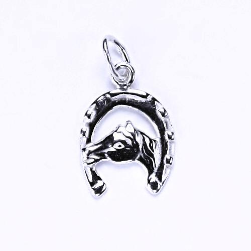 Stříbrný přívěšek, kůň, podkova, stříbro, hlava koně, P 9