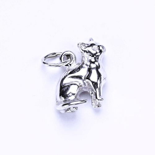 Stříbrný přívěsek, figurka sedící kočka, přívěšek ze stříbra, P 719