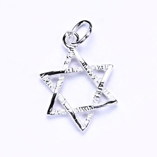 Stříbrný přívěsek, Davidova hvězda, stříbrné šperky, přívěšek ze stříbra, P 743