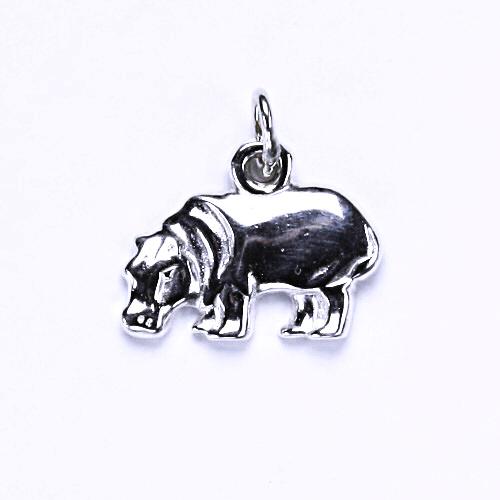 Stříbrný přívěšek, hroch, stříbrné šperky, P 785