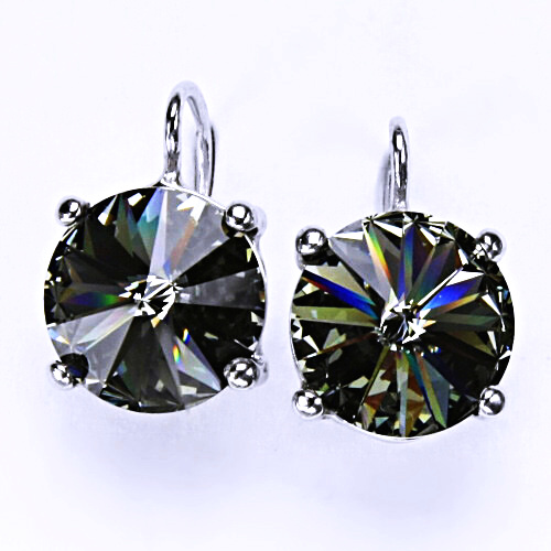 Stříbrné náušnice na patent s krystaly Swarovski Rivoli (barva Black diamond) NK 1188