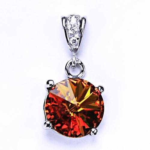Stříbrný přívěsek s krystalem Swarovski Rivoli (barva Topaz) P 1188/2