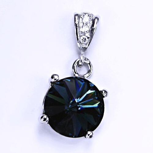 Stříbrný přívěšek s krystalem Swarovski Rivoli (barva Montana)P 1188/2