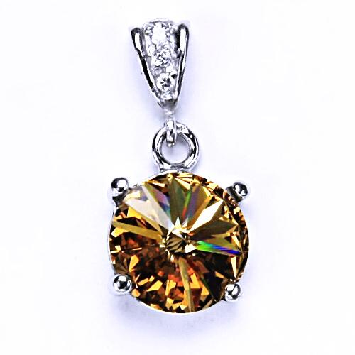 Stříbrný přívěšek s krystalem Swarovski Rivoli (barva Light topaz) P 1188/2