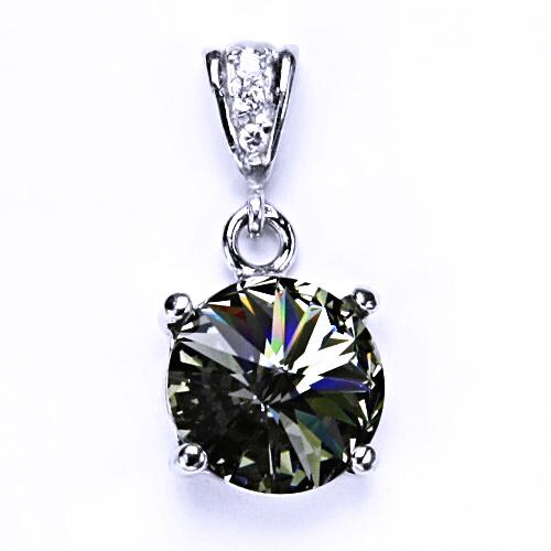 Stříbrný přívěšek s krystalem Swarovski Rivoli (barva Black diamond) P 1188/2