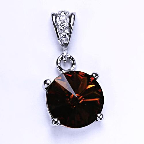 Stříbrný přívěšek s krystalem Swarovski Rivoli (barva Smoked topaz) P 1188/2