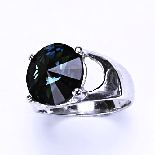 Stříbrný prsten s krystalem Swarovski Rivoli (barva Montana) T 1188