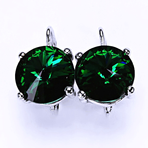Stříbrné náušnice na patent s krystaly Swarovski Rivoli (barva Emerald) NK 1188