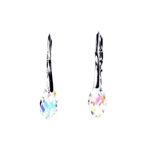 Stříbrné náušnice, šperky, Swarovski krystal, patent (kapka AB crystal 13 mm)NK 1295
