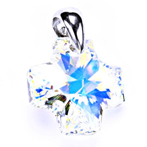 Stříbrný přívěšek,šperky, Swarovski krystal (kříž AB Crystal 20mm) P 1302