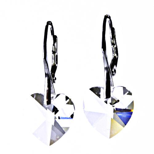 Stříbrné náušnice, šperky, Swarovski krystal, patent (čiré 14 mm)NK 1295