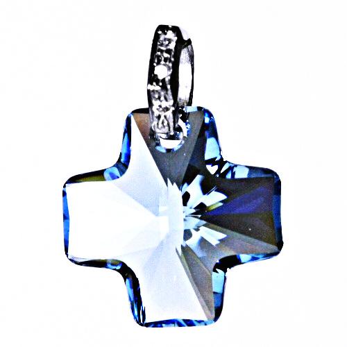 Stříbrný přívěšek,šperky, Swarovski krystal kříž 20 mm akvamarin, P 1304