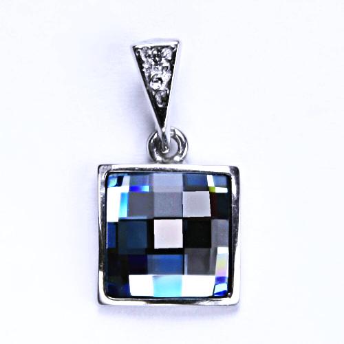 Stříbrný přívěšek,šperky, Swarovski krystal (akvamarin) P 1305/16