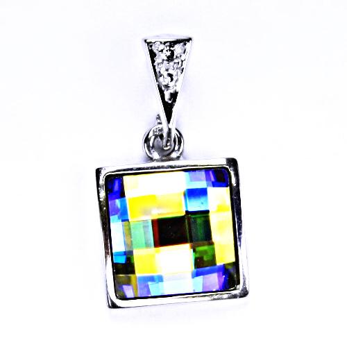 Stříbrný přívěšek, šperky, Swarovski krystal (AB Crystal) P 1305/16