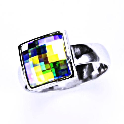 Stříbrný prsten, šperky, krystal Swarovski (AB crystal)T 1305