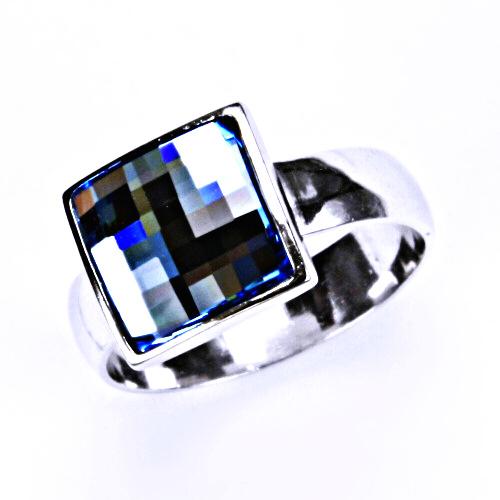 1 Stříbrný prsten, šperky, krystal Swarovski (Akvamarin)T 1305