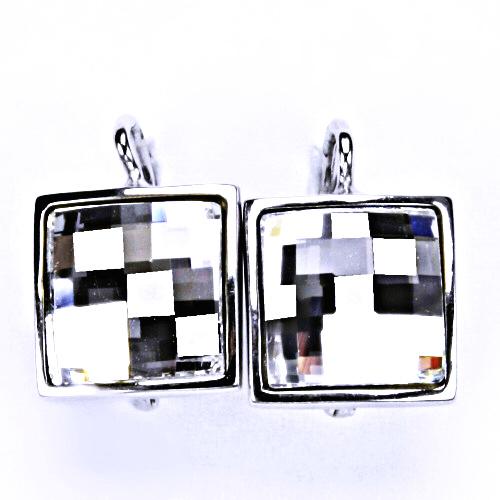 Stříbrné náušnice, šperky, Swarovski krystal, patent (bílé)NK 1305