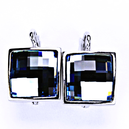 Stříbrné náušnice, šperky, Swarovski krystal, patent (akvamarin)NK 1305