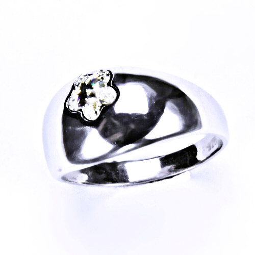 Stříbrný prsten s krystalem Swarovski ( kytička 6 mm - Crystal - čirá)T 1301