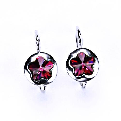 Stříbrné náušnice, šperky, Swarovski krystal, patent (fuchsie)NK 1300