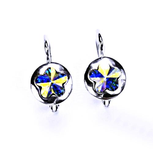 Stříbrné náušnice, šperky, Swarovski krystal AB, patent, NK 1300