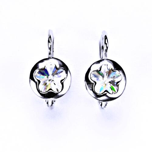 Stříbrné náušnice, šperky, Swarovski krystal, patent 2, NK 1300 čiré