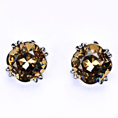 Stříbrné náušnice, Swarovski krystal, šroubek, NŠ 1225 Golden shade