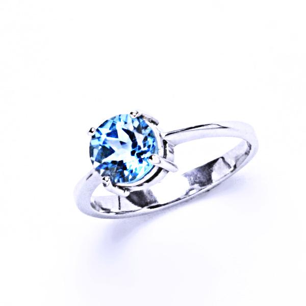 Stříbrný prsten, přírodní topaz swiss, prstýnek ze stříbra, T 1252