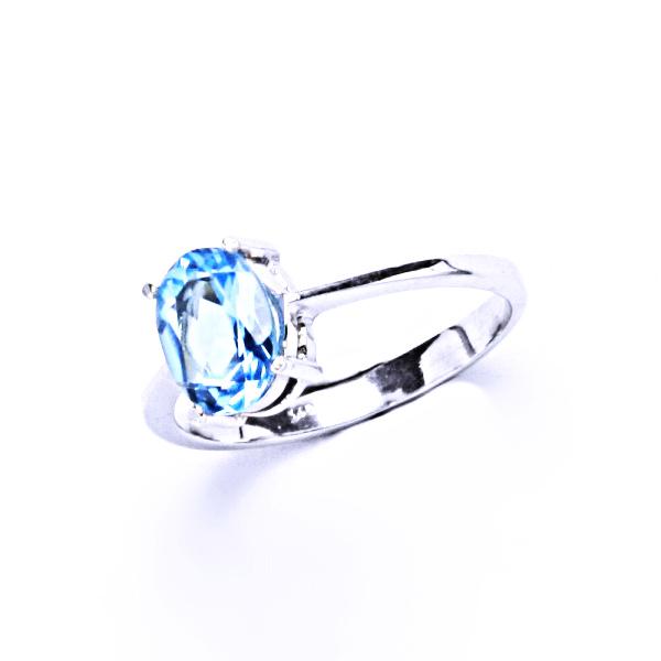 Stříbrný prsten, přírodní topaz sky, prstýnek ze stříbra, T 1245