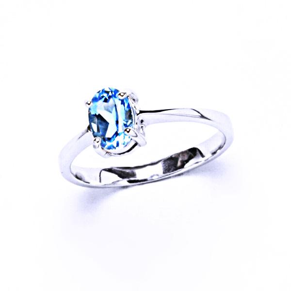 Stříbrný prsten, přírodní topaz swiss, prstýnek ze stříbra, T 1246