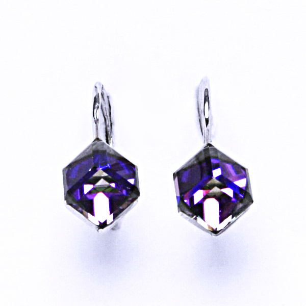 Stříbrné náušnice, krystal Swarovski, heliotrop, šperky s krystaly, NK 1230